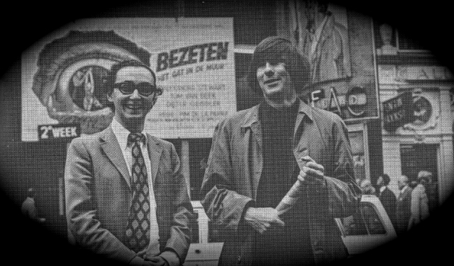 Figure 2. 'Pim and Wim' in front of the Cineac Damrak theatre in Amsterdam, the Netherlands, in the second week of the Dutch release of Bezeten: Het gat in de muur (1969, Obsessions). 'Obsessions became the biggest Dutch box office success of the decade.' Photo by: Frans Bromet. Courtesy by: $corpio Films.
