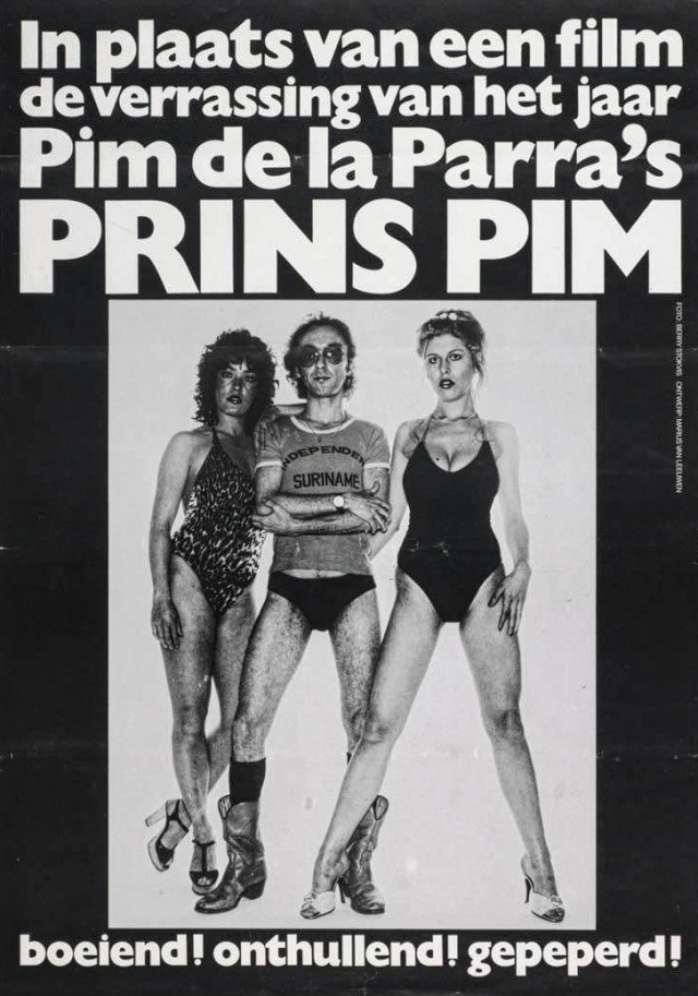 Figure 4. The promotional leaflet of De la Parra's autobiography, Prins Pim: Overdenkingen van een levensgenieter (1978, Prince Pim: Thoughts of a Bon Vivant). 'It contained many critical passages about the Dutch film funding system, including that the Production Fund did not want to finance films taking place overseas featuring black people. After that, it was finished with me.' Photo by: Berry Stokvis. Design by: Marius van Leeuwen.