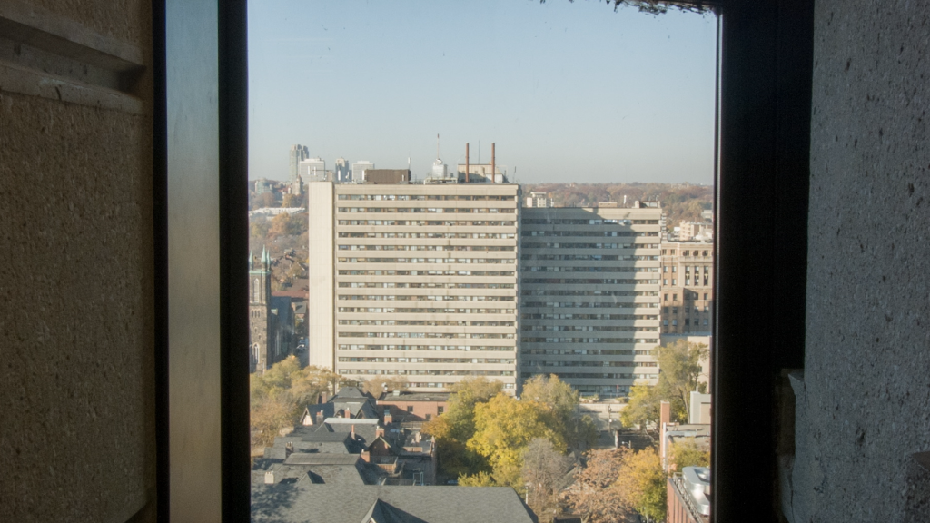 CLWU Still 02: view of former Rochdale site at 341 Bloor Street West, from Robarts Library