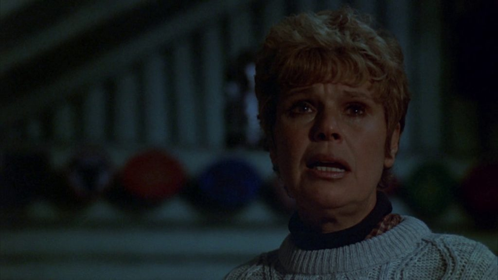 The killer—Mrs. Voorhees (Betsy Palmer)—reveals herself in Friday the 13th. (Paramount Pictures)