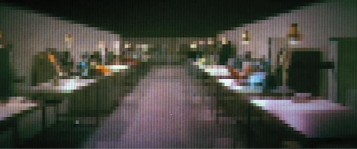 Figure 4. The gunslinger's view of the tables in the lab where Peter is hiding.