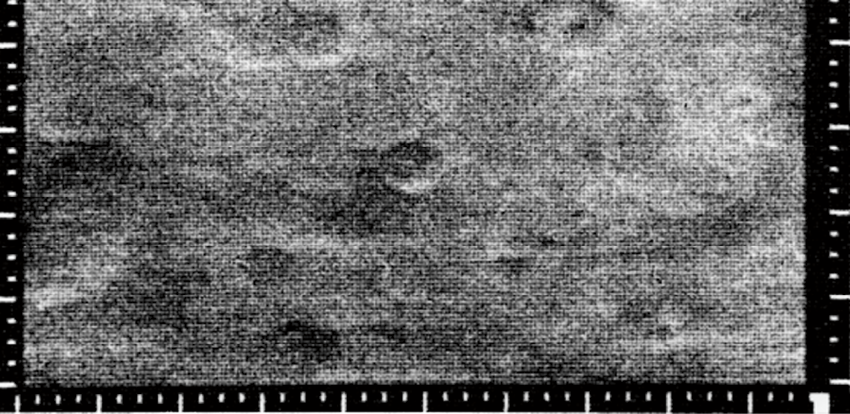 Figure 5. Bottom half of Mariner 4 photograph of craters on Mars, 1965. Source: NASA Image ID number: Mariner 4, frame 09D.