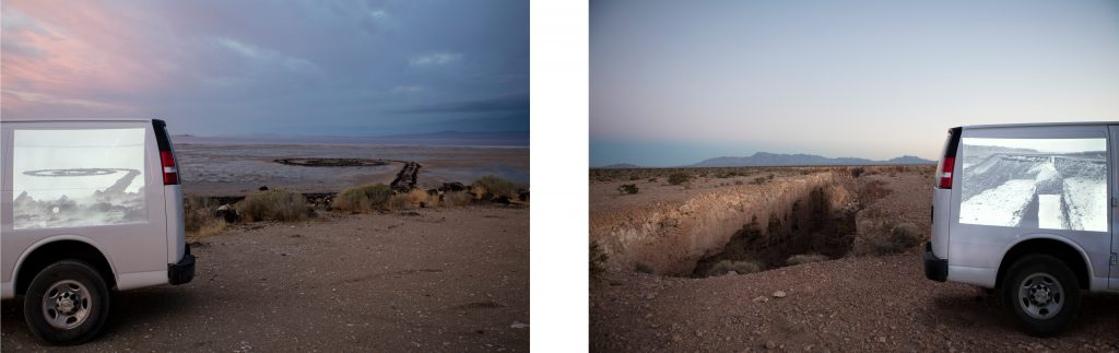 Doubles diptych (Spiral Jetty; Double Negative) 2016