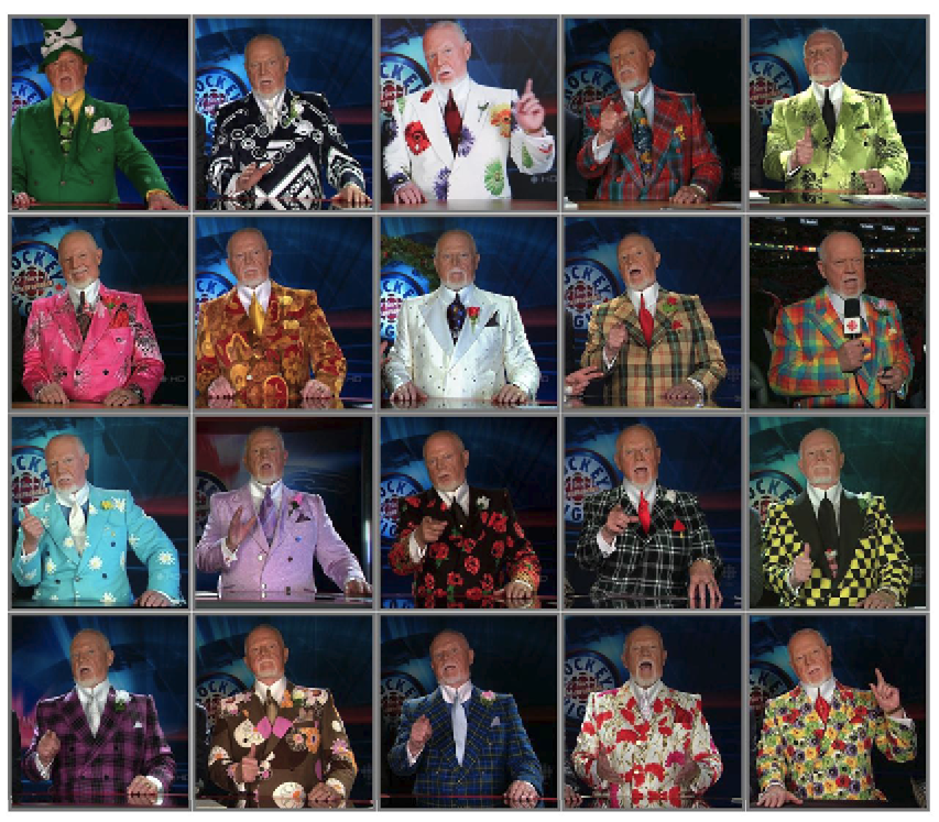 "Figure 1: ""The many suits of Canadian hockey commentator Don Cherry,"" Reddit, uploaded by used ihateyourband, 15 Jan 2013, http://imgur.com/gallery/zT2H1"