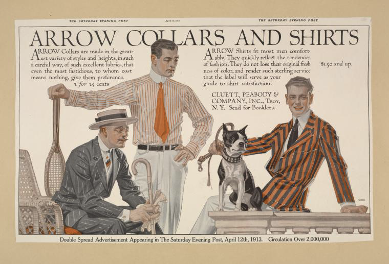 "Figure 2: ""Arrow collars & shirts. Saturday evening post, April 12, 1913."" The New York Public Library Digital Collections. 1895 - 1917. The Miriam and Ira D. Wallach Division of Art, Prints and Photographs: Art&Architecture Collection, The New York Public Library."