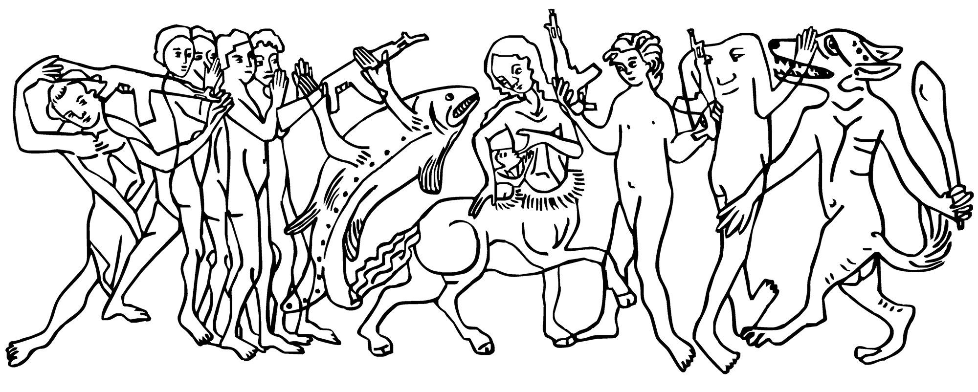 mural drawing in black and white with several half-human half-animal figures in a line also a female centaur